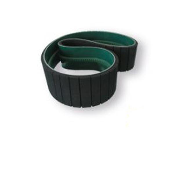 COATED FLAT BELTS WITH V-GUIDE AND STRAIGHT SLOTS